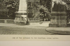 Gateways to the Stadtpark , Vienna, Austria, EUR, 1891, Unknown