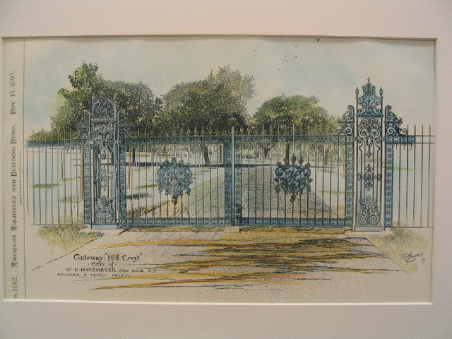 Gateway of Hill Crest, Estate of W. F. Havemeyer, Red Bank, NJ, 1897, Brunner and Tryon