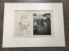 House of Everettt Chadwick, Floor Plan, Winchester,MA, Lithograph,1914. Warren & Smith.