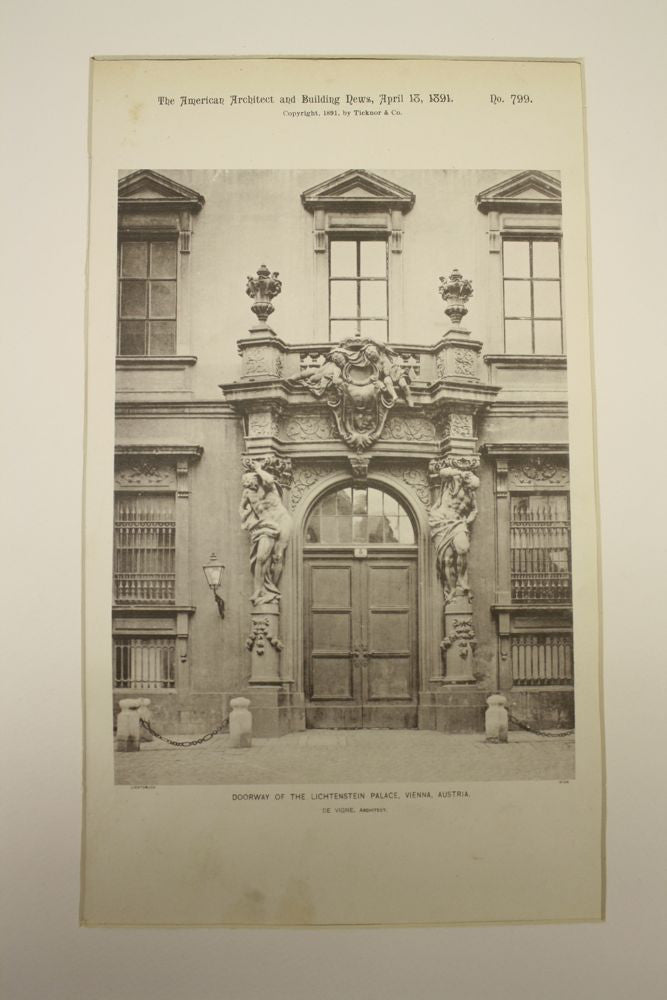 Doorway of the Lichtenstein Palace , Vienna, Austria, EUR, 1891, De Vigne