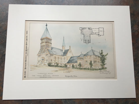 First Baptist Church, Bridgeport, CT, 1891, A Dehle, Original Hand Colored *