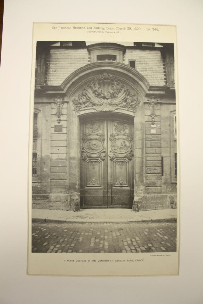 Porte Cochere in the Quartier St. Germain , Paris, France, EUR, 1890, n/a