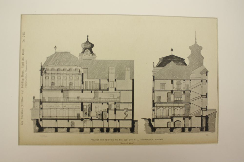 Project for Addition to the Old City Hall , Funfkirchen (Pecs), Hungary, EUR, 1890, Rudolf Klotz