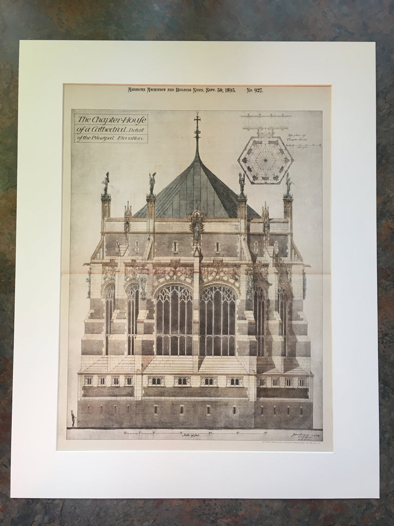Cathedral Chapter House, Elevation, 1893, John Bigg, Original Hand Colored *