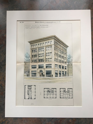 Berkshire County Savings Bank, Pittsfield, MA, 1894, Original Hand Colored *