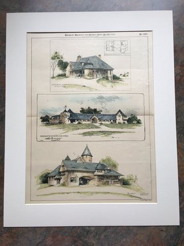 Burlingame Country Club Stable, etc., 1894, Original Hand Colored *