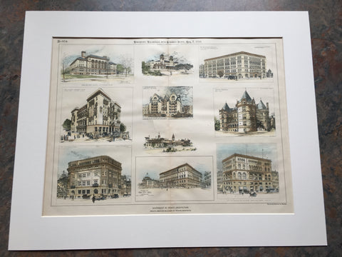 Cancer Hospital, NY, City Hall, Boston, etc., 1894, Original Hand Colored *