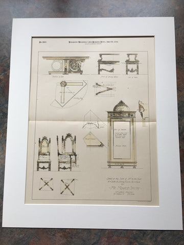 Dining Furniture for Monroe Smith, 1894, by William Price, Hand Colored Original*