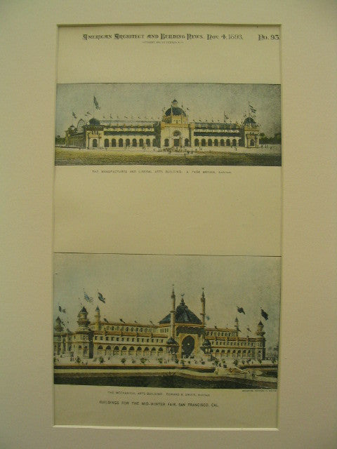 Buildings for the Mid-Winter Fair (Manufactures/Liberal Arts Bldg and Mechanical Arts Bldg), San Francisco, CA, 1893, A. Page Brown and Edward R. Swain