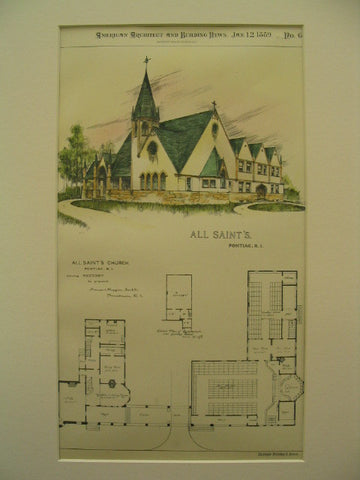 All Saint's Church, Pontiac, RI, 1889, Howard Hoppin