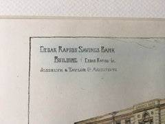 Cedar Rapids Savings Bank, Cedar Rapids, IA, 1896, Hand Colored Original -