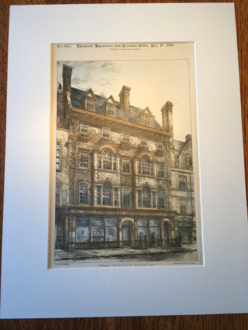 65-66 New Bond Street, London, UK, 1896, Arthur Keen, Original Hand Colored -