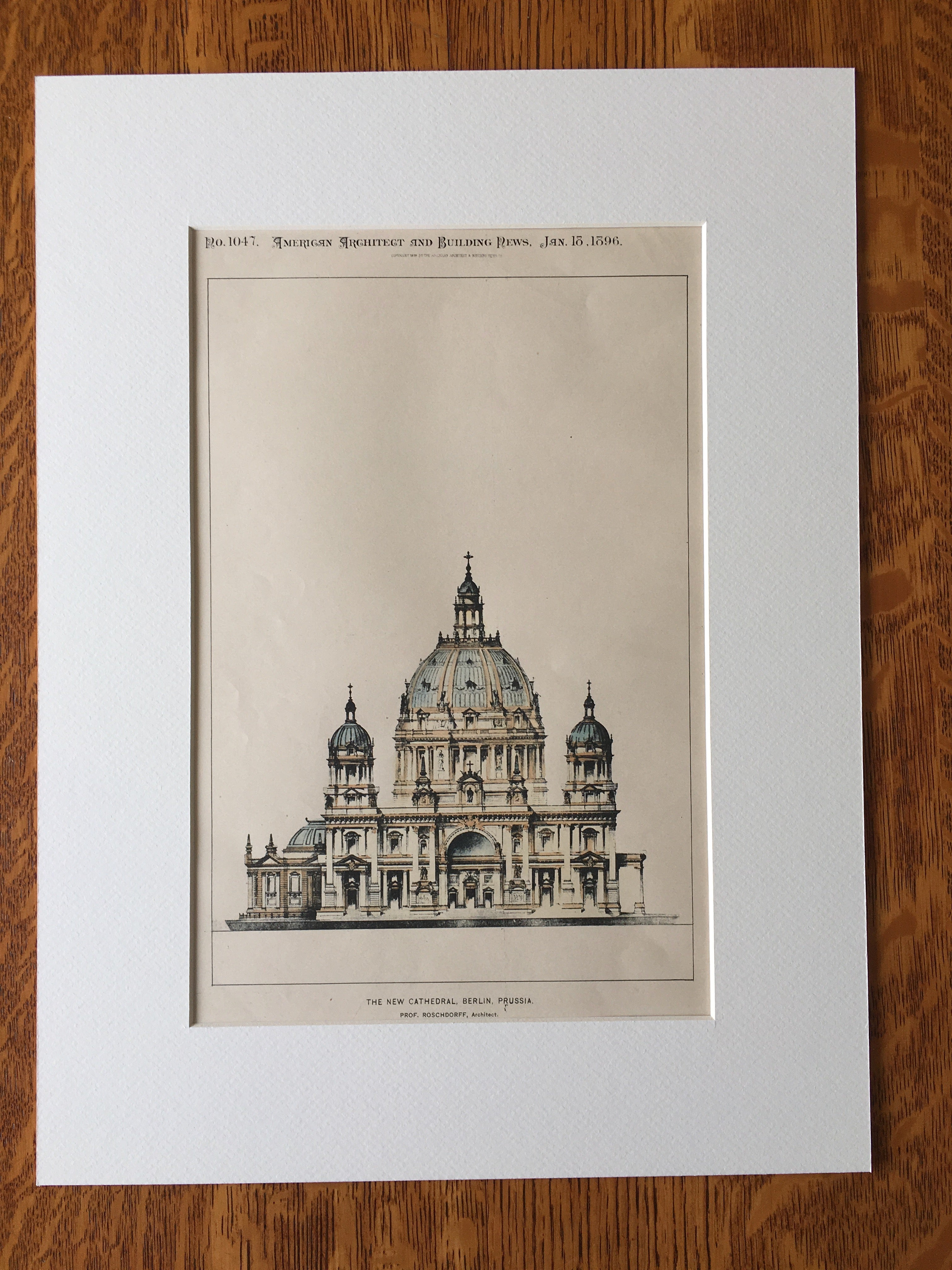 New Cathedral, Berlin, Prussia, Germany, 1896, Roschdorff, Original Hand Colored -