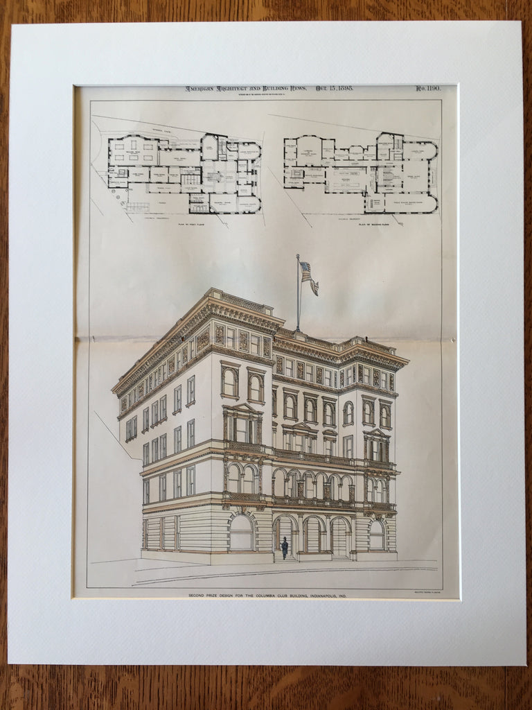 Columbia Club Building, Indianapolis, IN, 1898, W Swasey, Original Hand Colored -