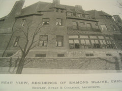 Rear View, Residence of Emmons Blaine, Chicago, IL, 1890, Shepley, Rutan & Coolidge