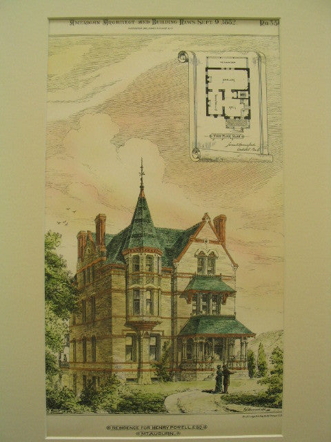 Residence for Henry Powell, Esq, Mount Auburn, MA, 1882, W. J. Burrows