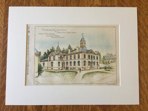 Burlington County Court House, Mt Holly, NJ, 1886, Original Hand Colored -
