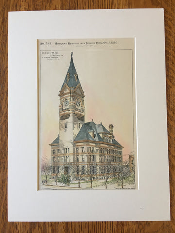 Court House, Clarion, PA, 1886, E M Butz, Original Hand Colored -