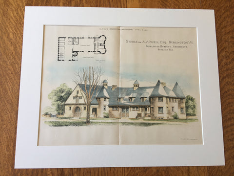 Stable for A A Buell, Burlington, VT, 1890, Original Hand Colored -