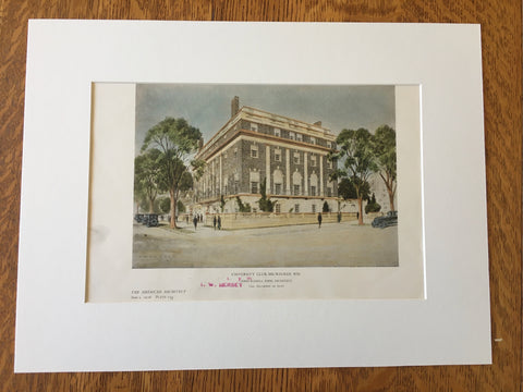 University Club, Milwaukee, WI, 1926, John Russell Pope, Original Hand Colored -