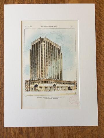 Medical Arts Building, Knoxville, TN, 1929, Original Hand Colored -
