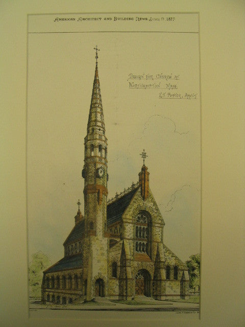 Design for a Church, Northampton, MA, 1877, E. T. Potter