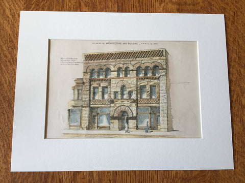 Business Block, Kearney, NE, 1890, Frank, Bailey & Farmer, Hand Colored Original -