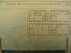 Design for Merchant's Club Building on German St., Baltimore, MD, 1882, J. A. and W. J. Wilson
