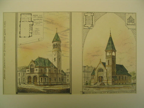 Engine House in Fall River, Massachusetts and St. Georges Church, Baltimore, MD, 1877, Hartwell & Swasey and Unknown (Respectively)