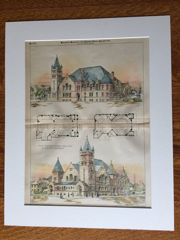 First Baptist Church, Peru, IN, 1894, E N Lamm, Hand Colored Original -