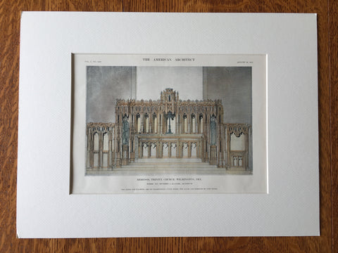 Reredos, Trinity Church, Wilmington, DE, 1911, Hand Colored Original -