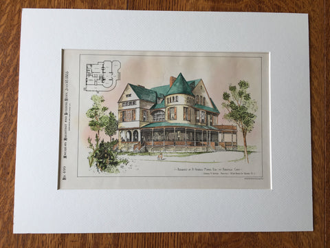 A. Newbold Morris Residence, Ridgefield, CT, 1885, Hand Colored Original -