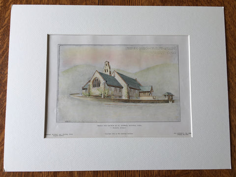 Church of St Andrew, Manitou, CO, 1905, T MacLaren, Hand Colored Original -