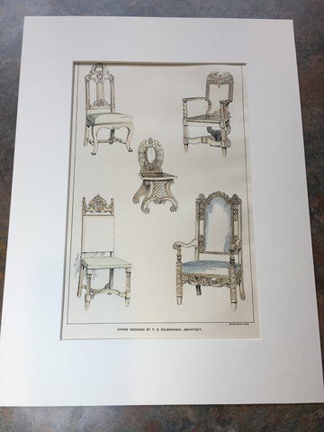 Chairs designed by P G Gulbranson, Boston, MA, 1899, Original Hand Colored -