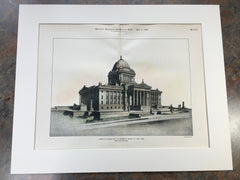 Design for Minnesota State Capitol, St Paul, MN, 1899, Original Hand Colored -