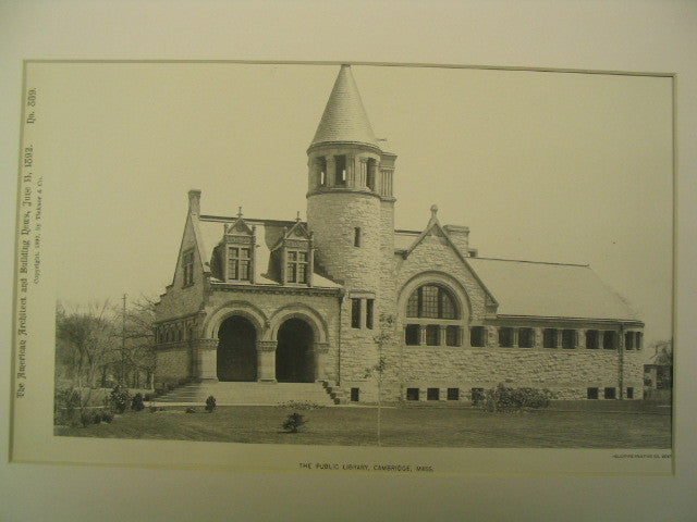 Public Library, Cambridge, MA, 1892, Van Brunt and Howe