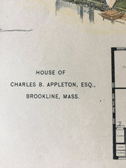 House of Charles Appleton, Brookline, MA, 1896, Hand Colored Original