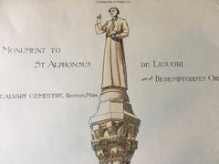 St Alphonsus de Liguori, Calvary Cemetery, Boston, MA, 1888, Original Hand Colored