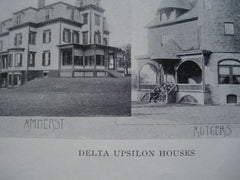 Delta Upsilon Houses for University of Rochester, Colgate, Amherst & Rutgers, 1902, Unknown