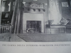 Interior of Phi Gamma Delta House at Worcester Polytechnic Institute , Worcester, MA, 1902, Unknown