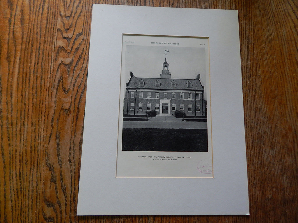 Pickands Hall-University School, Cleveland, OH, 1929,Lithograph. Walker & Weeks.