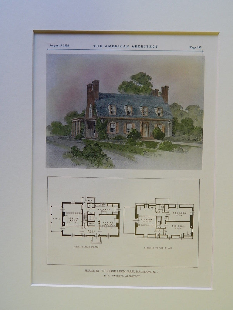 House of Theodor Leonhard, Haledon, NJ, 1928, Original Plan. P.F. Watkeys.