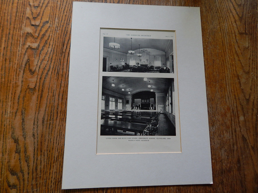 Living Room/Study, University School,Cleveland,OH, 1929,Lithograph. Walker/Weeks