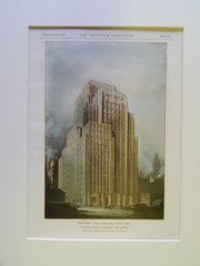 Western Union Building, New York, 1928, Original Plan. Vorhees, Gmelin & Walker.