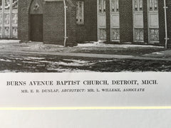 Burns Avenue Baptist Church, Detroit, MI, 1916, Lithograph. E.R. Dunlap