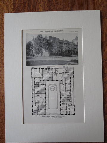 Brownleigh Court Apartments, Denver, CO, 1911, Lithograph. W.E. & A.A. Fisher