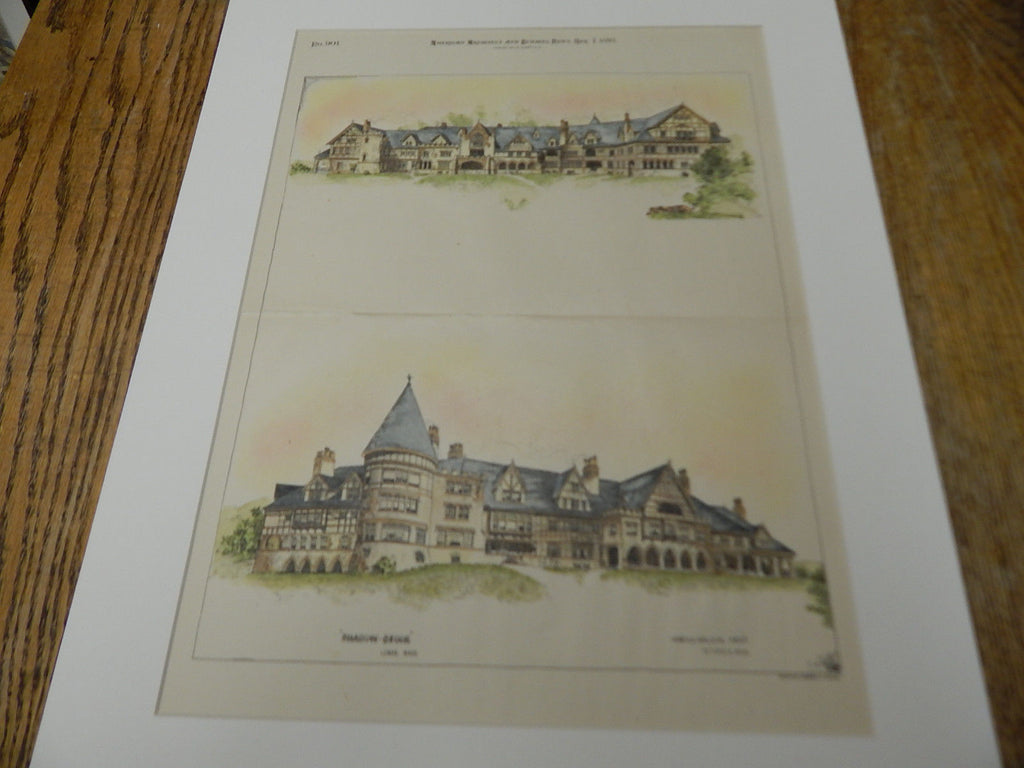 Shadow-Brook, Lenox, MA 1893. Original Plan. Hand-colored. H. Neill Wilson.