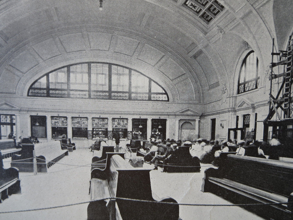 Interior, Union Station, Worcester, MA, 1911, Lithograph. Watson & Huckel