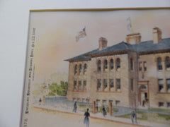 Robert Gould Shaw Grammar School, Roxbury MA 1892. Original Plan. Hand Colored. Wheelwright.