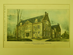 Stillman Hall, Hospital for Harvard, Cambridge, MA, 1899, Original Plan. Montague & Kingsbury.
